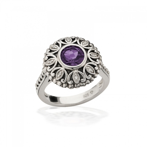 Storywheels Silver, Amethyst & Diamond Halo Ring R7927A