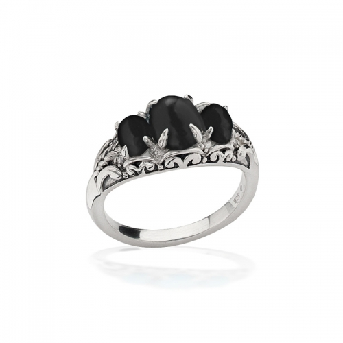 Storywheels Silver, Onyx & Diamond Ring R7931ON