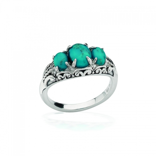 Storywheels Silver, Turquoise & Diamond Ring R7931T