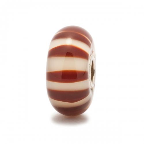 Trollbeads Chocolate Stripe Silver & Glass Bead TGLBE-10122