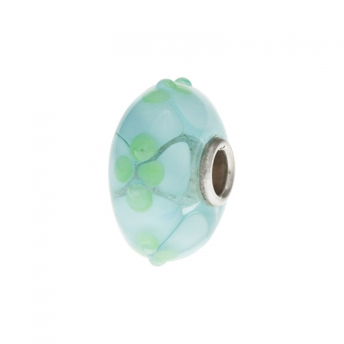 Trollbeads Blue Springtime Silver & Glass Bead 64601-1
