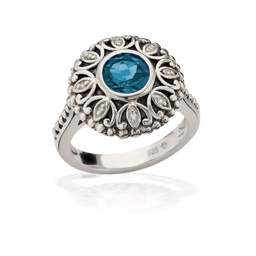 Storywheels Silver, Swiss Blue Topaz & Diamond Halo Ring R7927SW