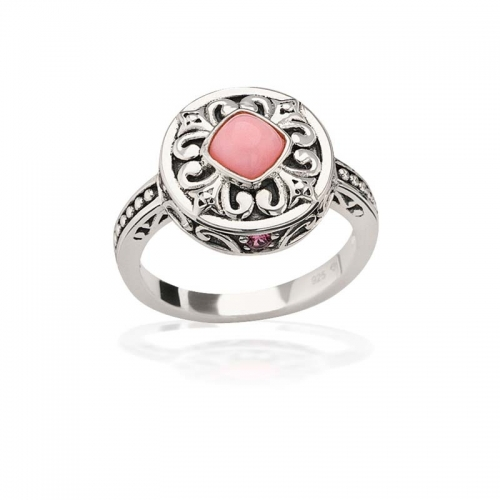Storywheels Silver & Pink Opal Halo Ring R7930MUL