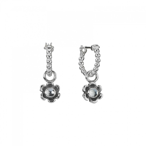 504087320 Ex Display: Pandora Silver And Topaz Bubble Hoop Flower Earrings 290970btp