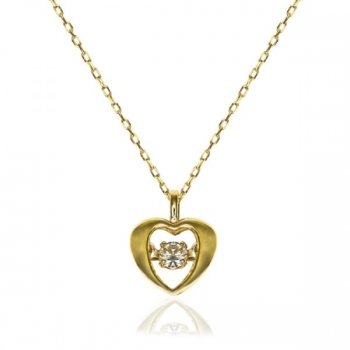 Storywheels Gold Floating 0.04ct Diamond Heart Necklace