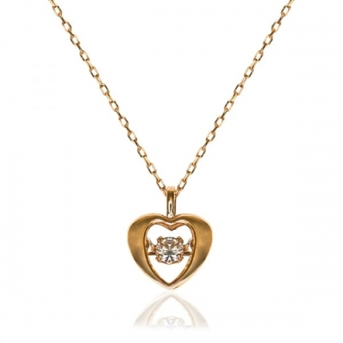 Storywheels Rose Gold Floating 0.04ct Diamond Heart Necklace