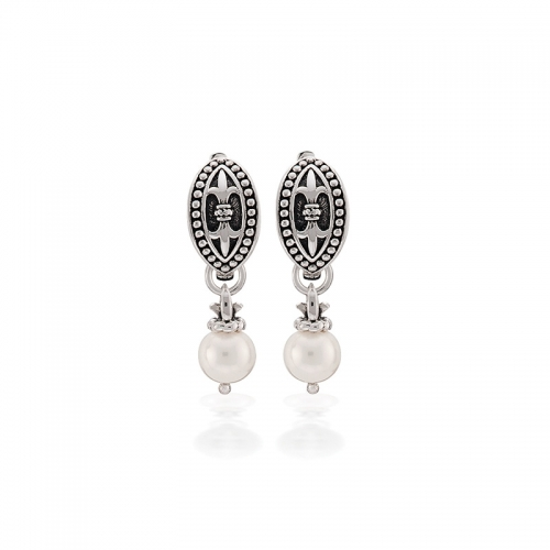 Storywheels Silver & Pearl Hoop Earrings E-5508PRL
