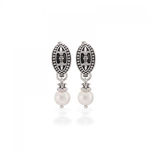 Storywheels Silver & Pearl Hoop Earrings E-5508PRL
