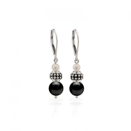 Storywheels Silver, Hematite & Pearl Leverback Earrings E-5455MUL3
