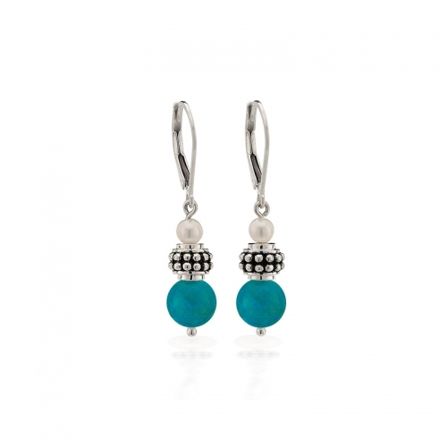 Storywheels Silver, Turquoise & Pearl Leverback Earrings E-5455MUL1