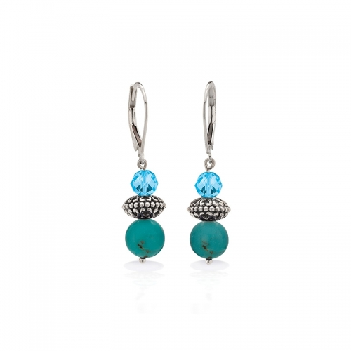 Storywheels Silver, Swiss Blue Topaz & Turquoise Leverback Earrings E-5436MUL1