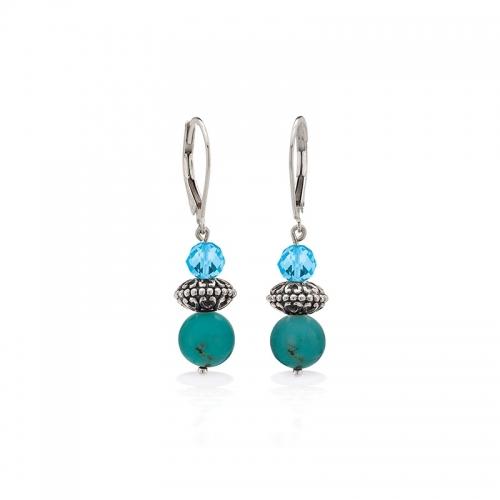 Storywheels Silver, Swiss Blue Topaz & Turquoise Leverback Earrings E-5436MUL1