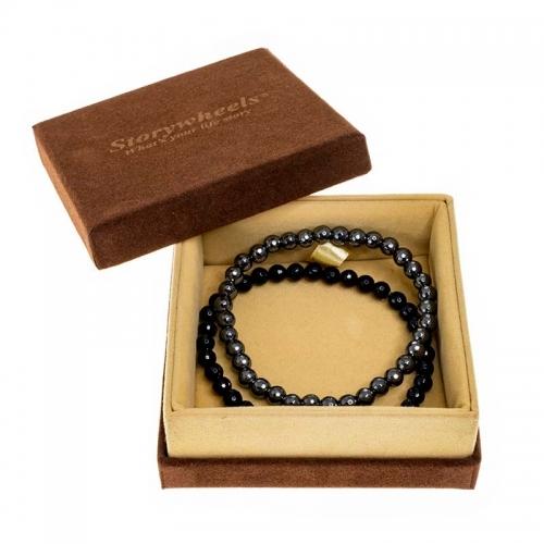 Storywheels Black Agate & Hematite Bracelet Set
