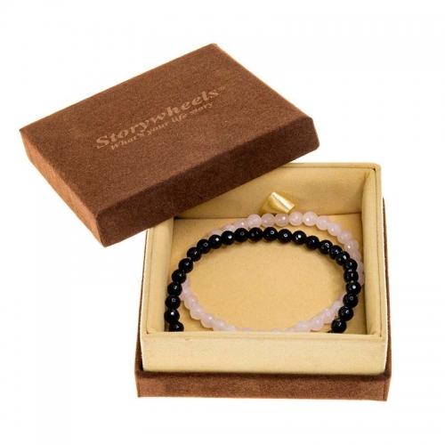 Storywheels Black Agate & Rose Quartz Bracelet Set