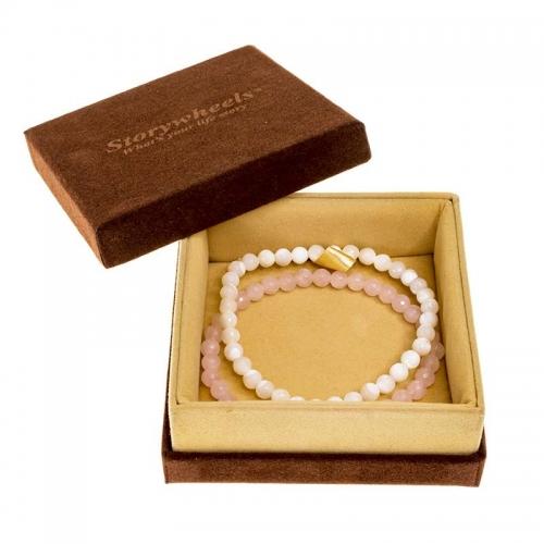 Storywheels Mother of Pearl & Rose Quartz Bracelet Set