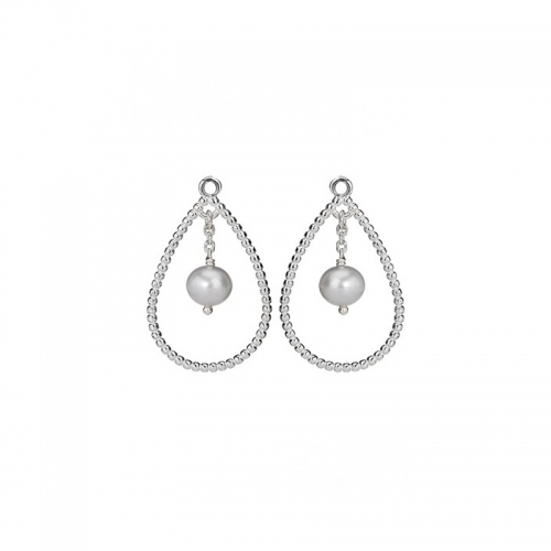 Pandora Grey Pearl Earrings: Pandora Silver And Grey Pearl Charmed Drop Earring