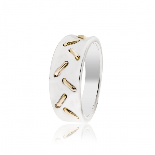 Pandora Striped Silver & 14k Gold Ring 190241