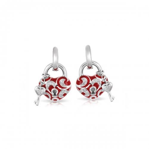 Belle Etoile Key to My Heart Red Earrings
