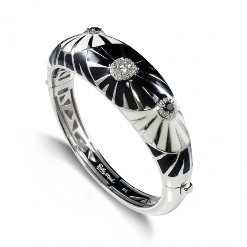 Belle Etoile Dandelion Black & White Bangle