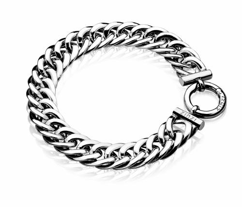 Zinzi Sterling Silver Flat Chain Bracelet with O lock Fastening ZIA834