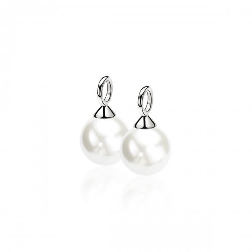 Zinzi silver creole pendants pearl white ZICH266W