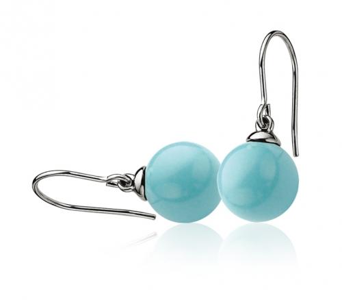 Zinzi Turquoise Pearl Drop Silver Earrings ZIO266T