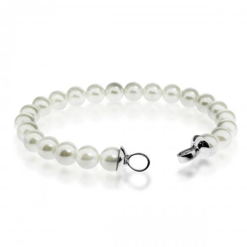 Zinzi White Pearl Beaded 19cm Bracelet ZIA401W