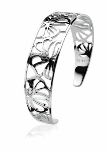 Zinzi Sterling Silver Openwork Floral Cuff Bracelet ZIA817