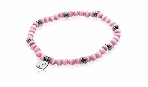 Zinzi Rose Pink Cats Eye Beaded Bracelet ZIA847R