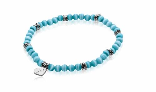 Zinzi Turquoise Cats Eye Beaded Bracelet ZIA847T