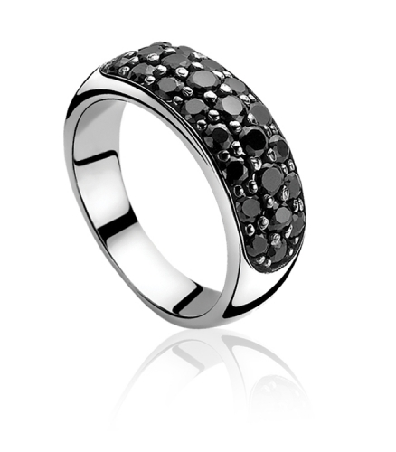 Zinzi Sterling Silver Black Zirconia Ring ZIR334Z