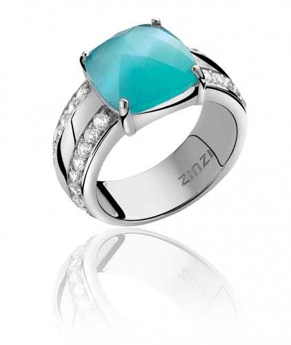 Zinzi Sterling Silver Ring With Turquoise Cats Eye Stone ZIR623T