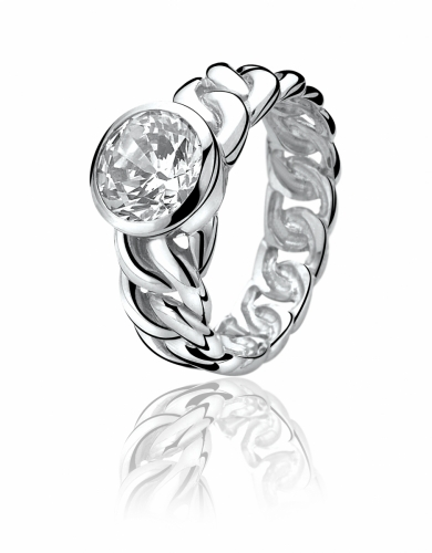 Zinzi Sterling Silver Gourmet Ring With White Zirconia ZIR655