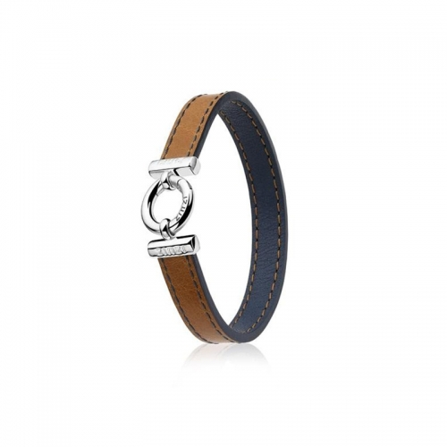 Zinzi Brown And Blue Leather Bracelet Zia954