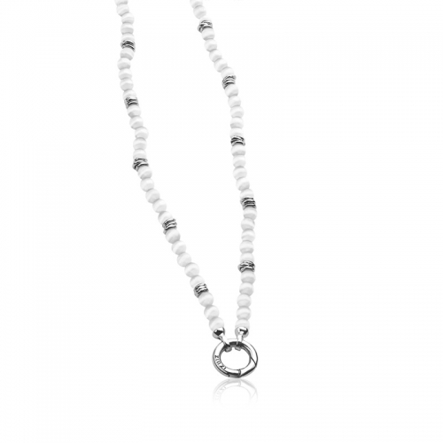 Zinzi grey cats eye necklace with silver rings 43cm ZIC847G