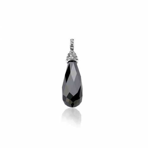 Zinzi Silver Pendant With Black Tear Drop Zirconia Zih536Z