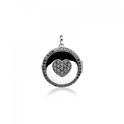 Zinzi silver medallion pendant double-sided black and white ZIH724