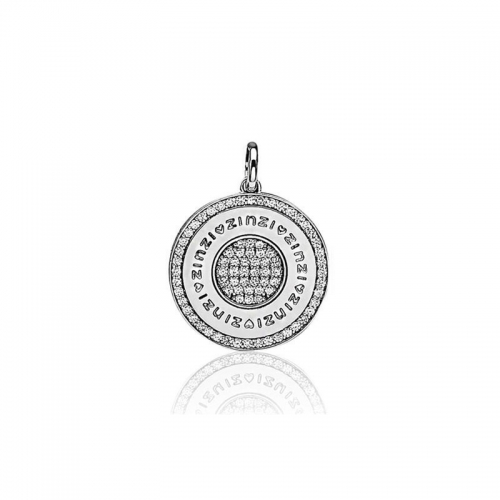 Zinzi silver coin pendant with white zirconias ZIH725
