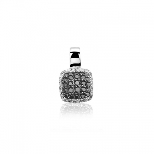 ZINZI SILVER SQUARE PENDANT WITH Black and WHITE ZIRCONIAS ZIH887