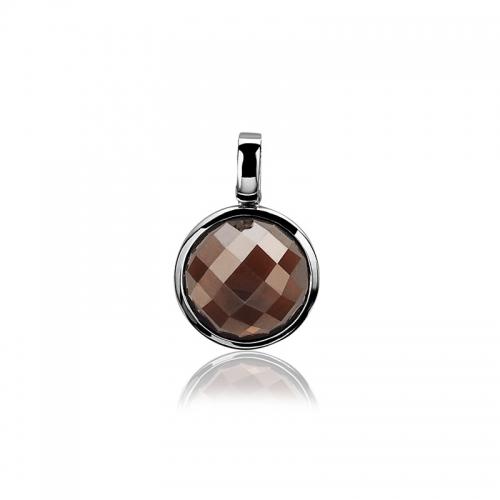 Zinzi silver round pendant with brown stone ZIH929