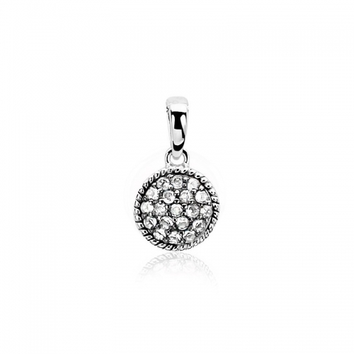 Zinzi small round silver pendant with white zirconias ZIH930
