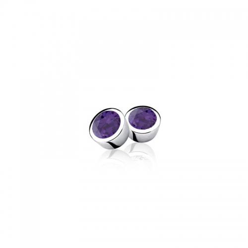 Zinzi Round Silver Studs With Purple Zirconias ZIO322P