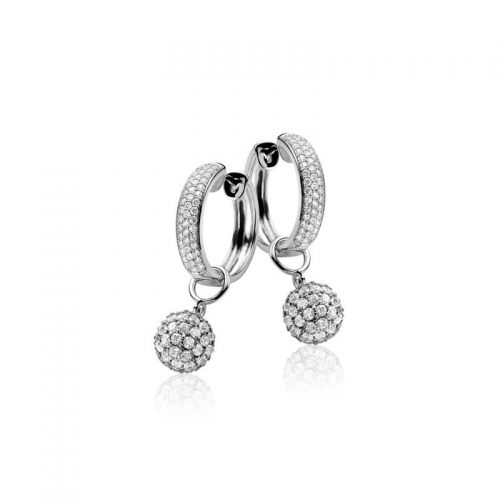 Zinzi Silver & Pave Cz Earrings ZIO544