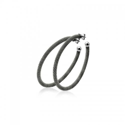 Zinzi Dark Silver Large Hooped Earrings With Beaded Pattern ZIO681Lz
