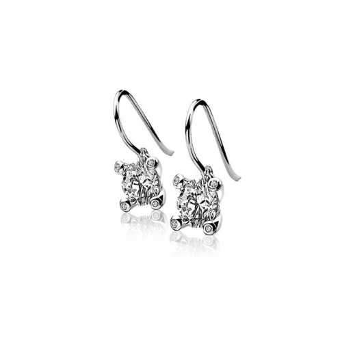 Zinzi Silver Drop Earrings With A White Zirconias ZIO775H
