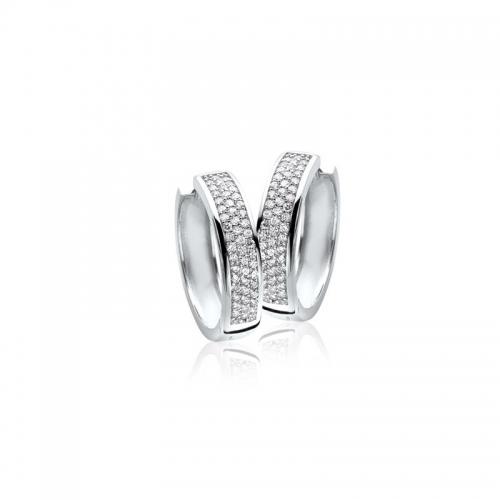 Zinzi Large Silver Earrings With White ZirconiasZIO855