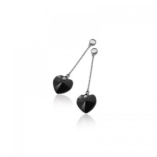 Zinzi Silver Pendant Earrings With Black Swarovski Crystals Hearts