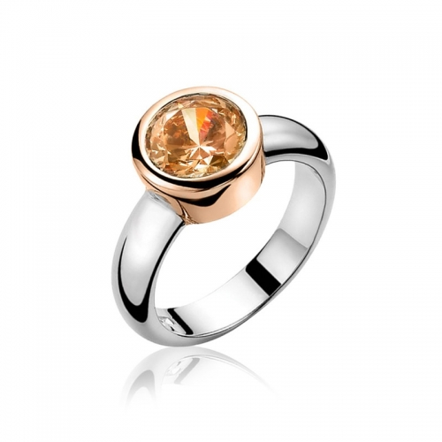 Zinzi Silver And Rose Gold Ring With Champagne Zirconia ZIR050CR
