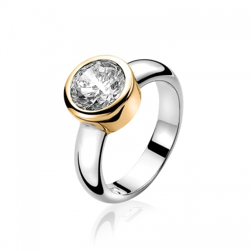 Zinzi Silver And Gold Ring With White Zirconia ZIR050Y