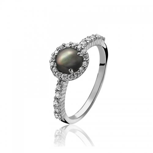 Zinzi Silver Ring With Black Stone And White Zirconia ZIR1039Z